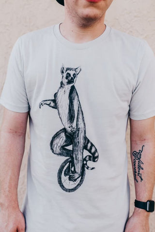 Lemur Riding a Unicycle Men's T-Shirt