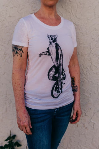 Lemur Riding a Unicycle Women's T-Shirt