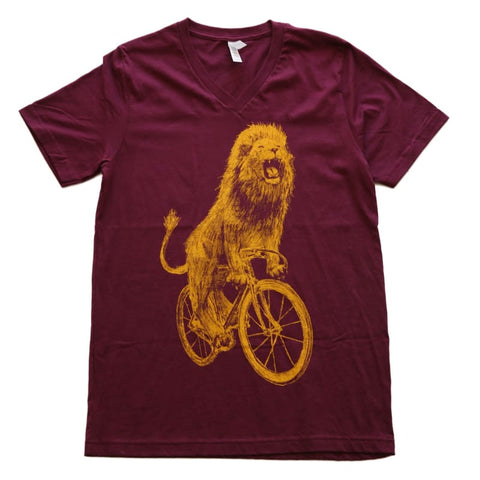 Lion on a Bicycle Men's V-Neck T-Shirt