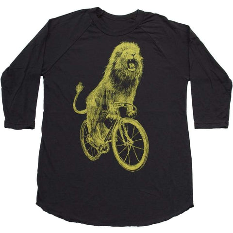 Lion on a Bicycle Unisex Baseball Tee