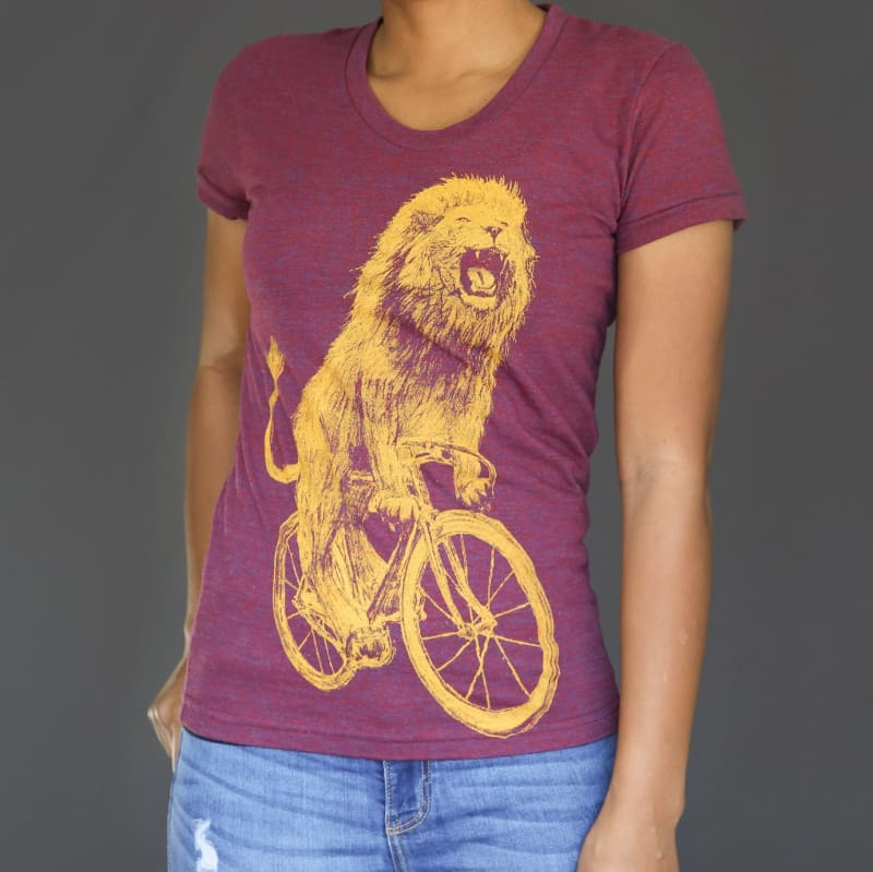 Lion on a Bicycle Womens T-Shirt - Ladies Tees