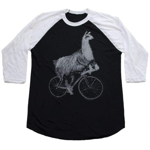 Llama on a Bicycle Unisex Baseball Tee