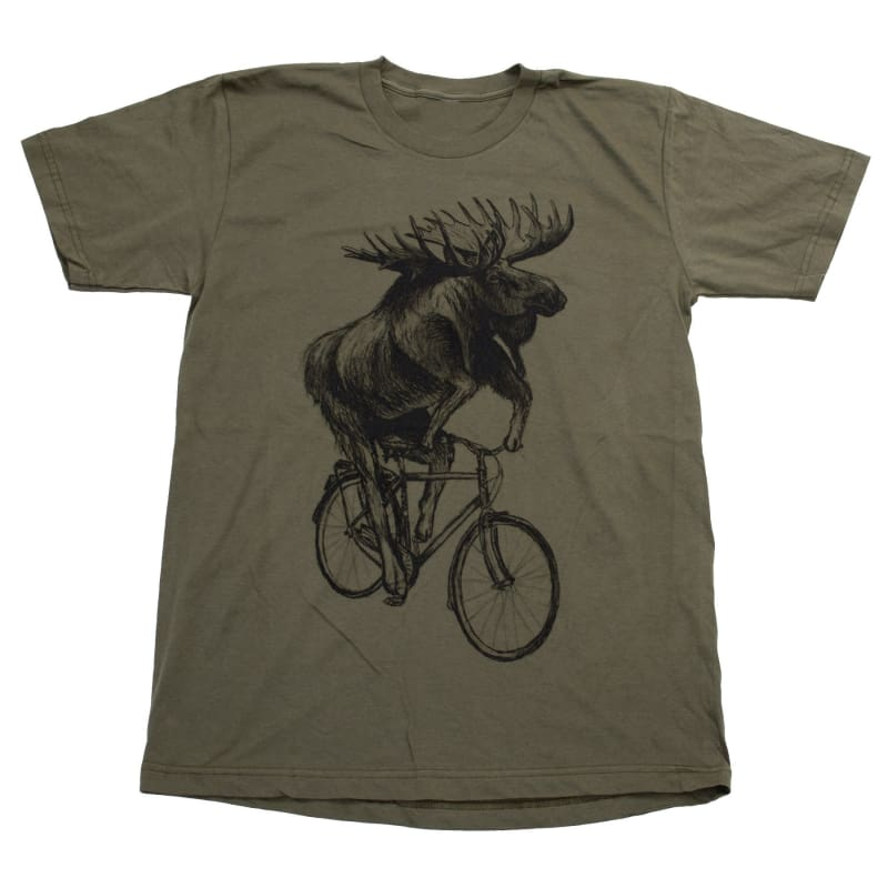 Moose on a Bicycle Mens T-Shirt - Unisex/Mens Tee / Army / XS - Unisex Tees