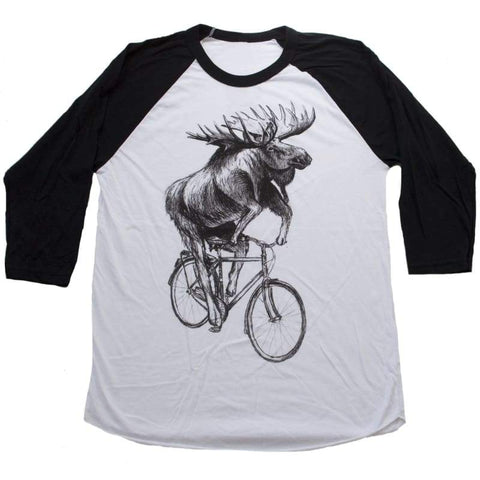 Moose on a Bicycle Unisex Baseball Tee