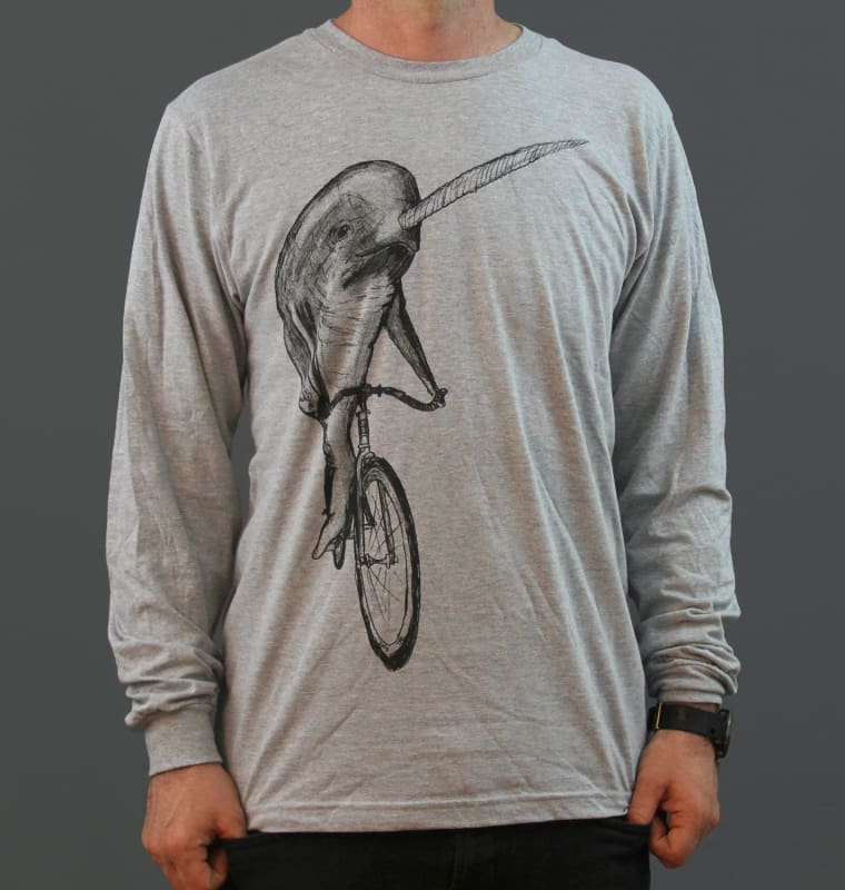 Narwhal on a Bicycle Long Sleeve Mens T-Shirt - Heather Grey / XS - Unisex Tees
