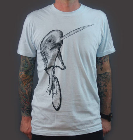 Narwhal on a Bicycle Men's T-Shirt