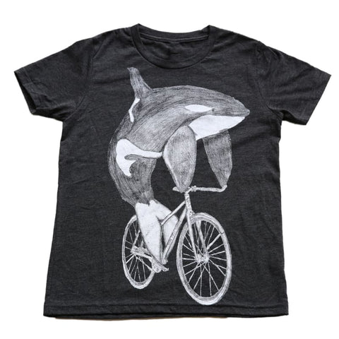 Orca on a Bicycle Kids T-Shirt