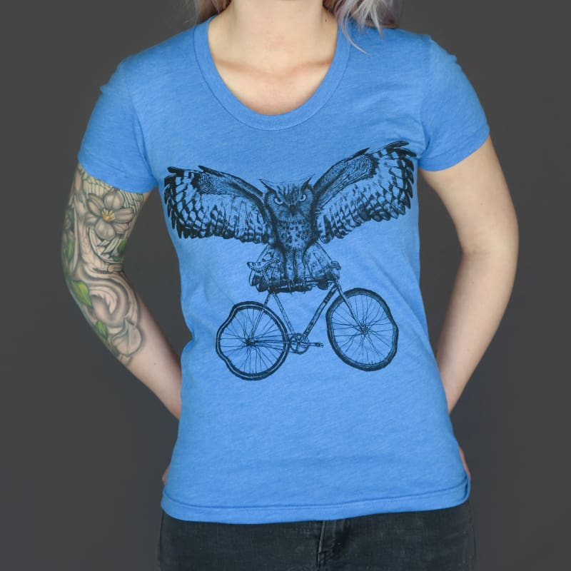 Owl on a Bicycle Womens T-Shirt - Ladies Tees