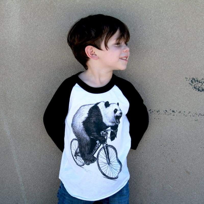 Panda on a Bicycle Kids Baseball Tee - Kids Baseball Tee / Black/White / 2 - Kids Shirts