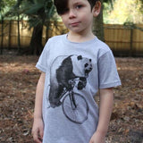 Panda on a Bicycle Kids T-Shirt - 2 / Heather Grey - Kids Shirts