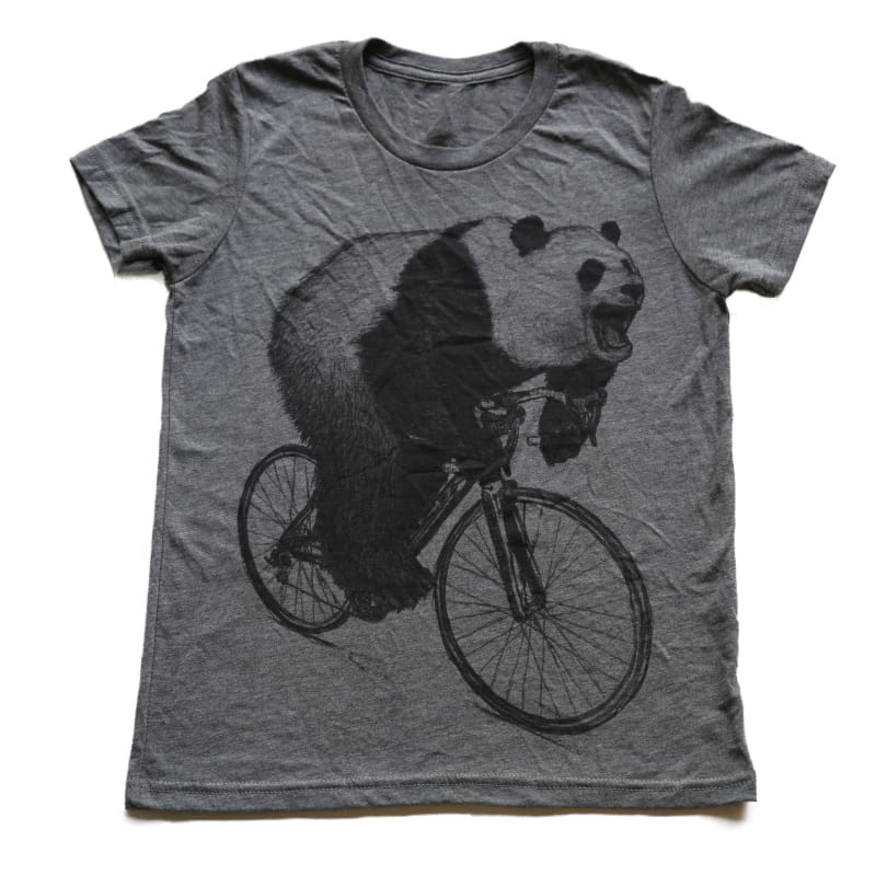 Panda on a Bicycle Kids T-Shirt - Youth Small / Gray - Kids Shirts