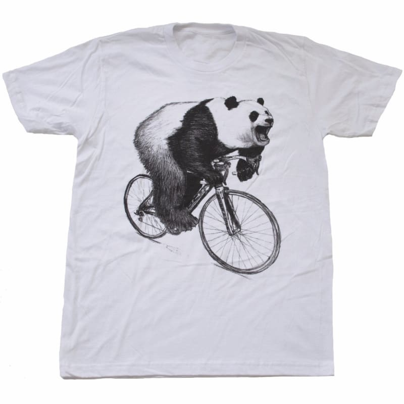 Panda on a Bicycle Mens T-Shirt - Unisex/Mens Tee / White / XS - Unisex Tees