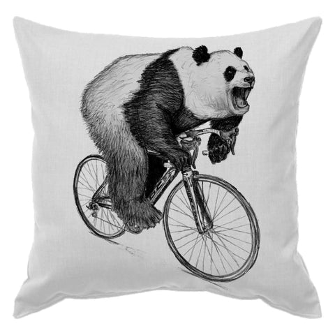 Panda on a Bicycle Pillow