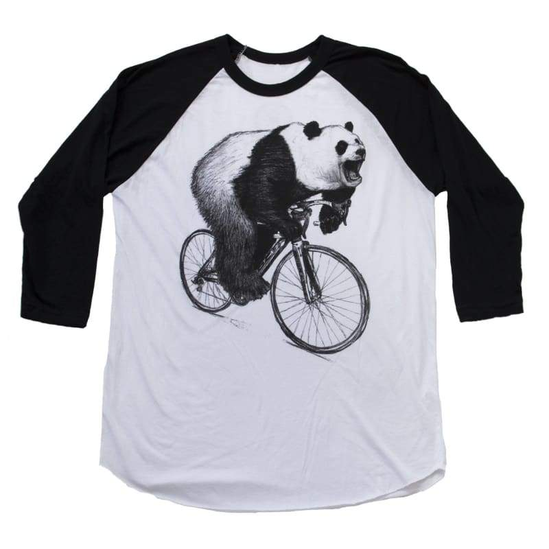Panda on a Bicycle Unisex Baseball Tee - Baseball Tee / Black/White / XS - Animals on Bikes