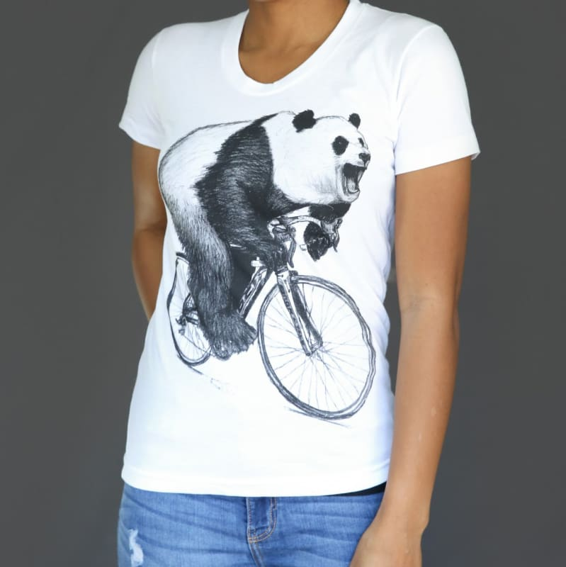 Panda on a Bicycle Womens T-Shirt - Ladies Tees