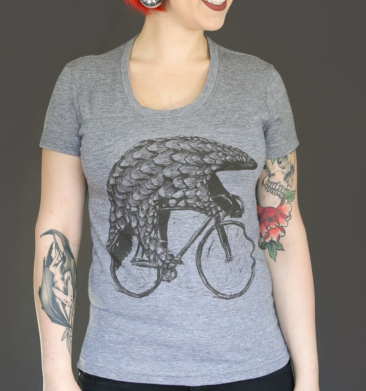 Pangolin on a Bicycle Womens T-Shirt - Womens Tee / TriGrey / S - Ladies Tees