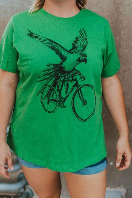 Parrot on a Bicycle Womens Shirt - Relaxed / Tri-Green / S - Ladies Tees