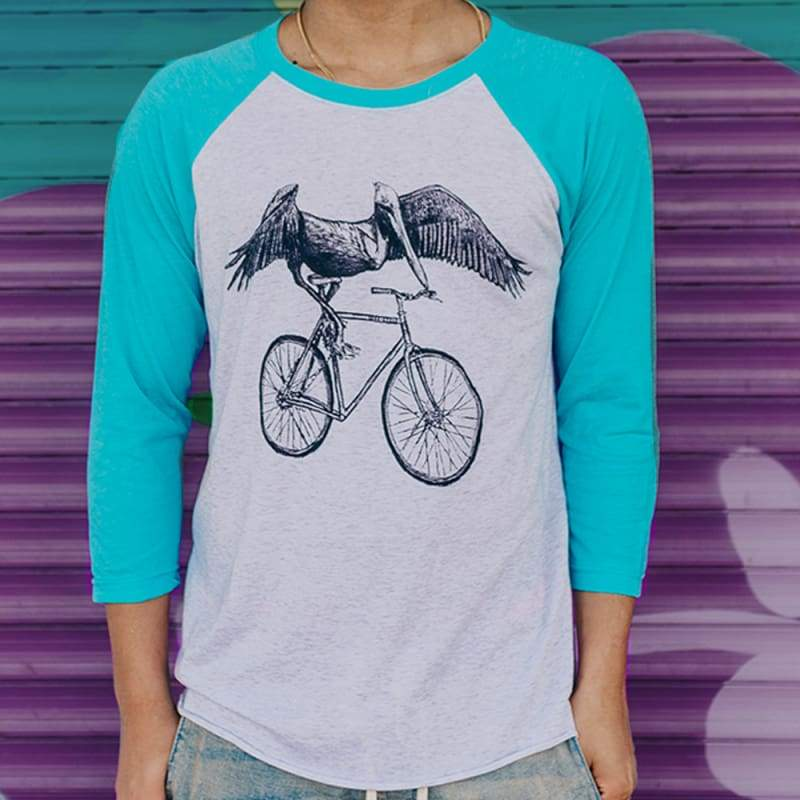 Pelican on a Bicycle Unisex Baseball Tee - Baseball Tees