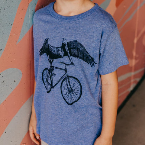 Pelican on a Bike Kids T-Shirt