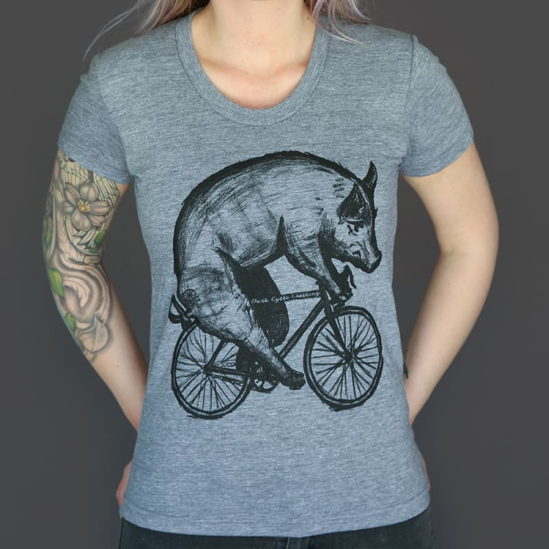 Pig on a Bicycle Womens T-Shirt - Ladies Tee / Tri-Grey / S - Ladies Tees