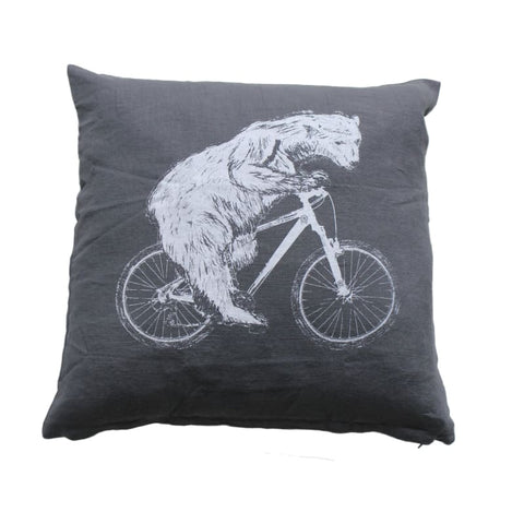 Polar Bear on a Bicycle Pillow