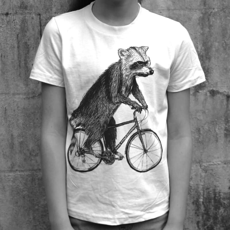 Raccoon on a Bicycle Kids T-Shirt - Kids/Youth / White / 8 - Kids Shirts