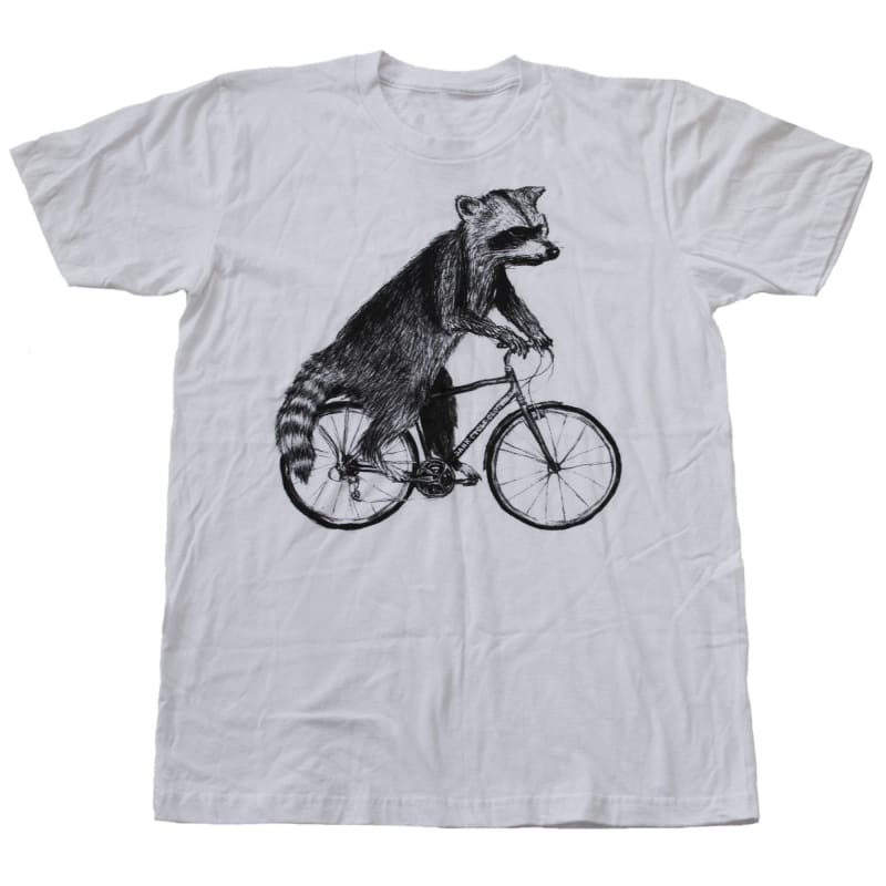 Raccoon on a Bicycle Mens T-Shirt - Unisex/Mens Tee / White / XS - Unisex Tees