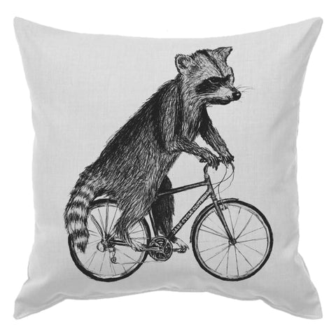 Raccoon on a Bicycle Pillow
