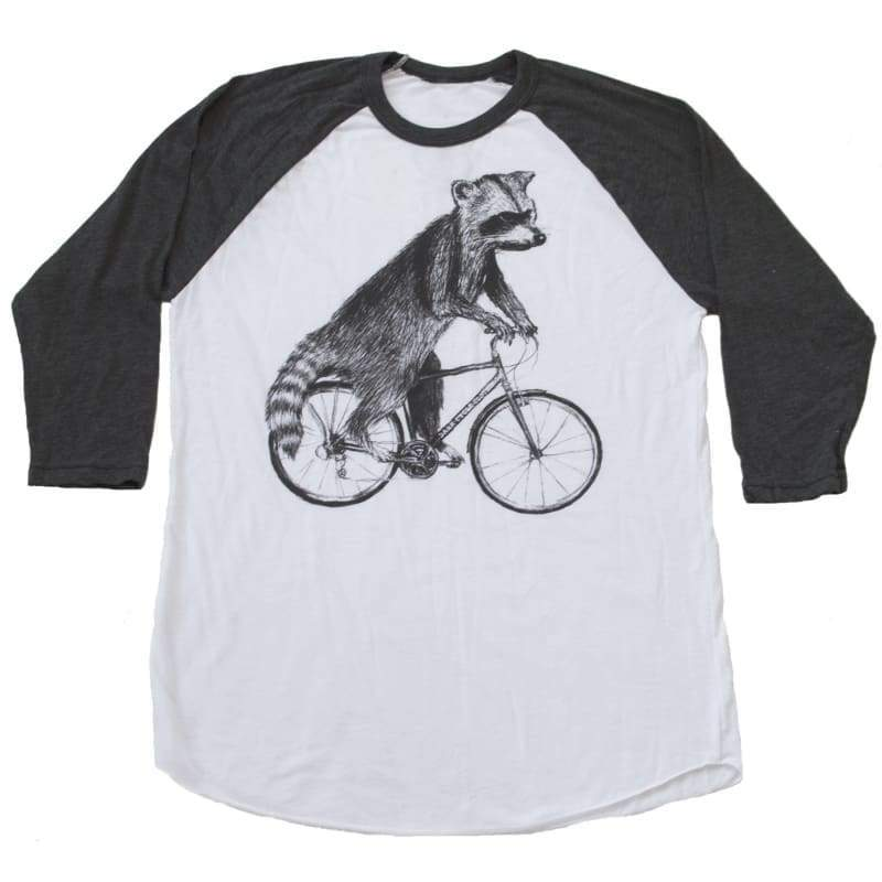Raccoon on a Bicycle Unisex Baseball Tee - Baseball Tee / White/Dark Heather / XS
