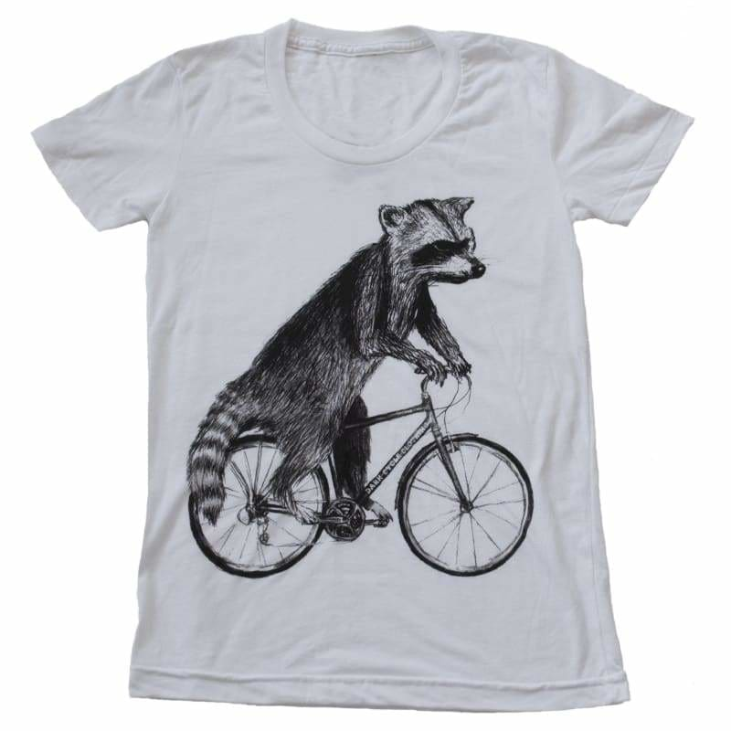 Raccoon on a Bicycle Womens T-Shirt - Womens Tee / White / S