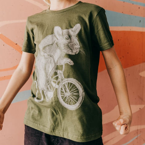 Rat on a Bicycle Kids T-Shirt