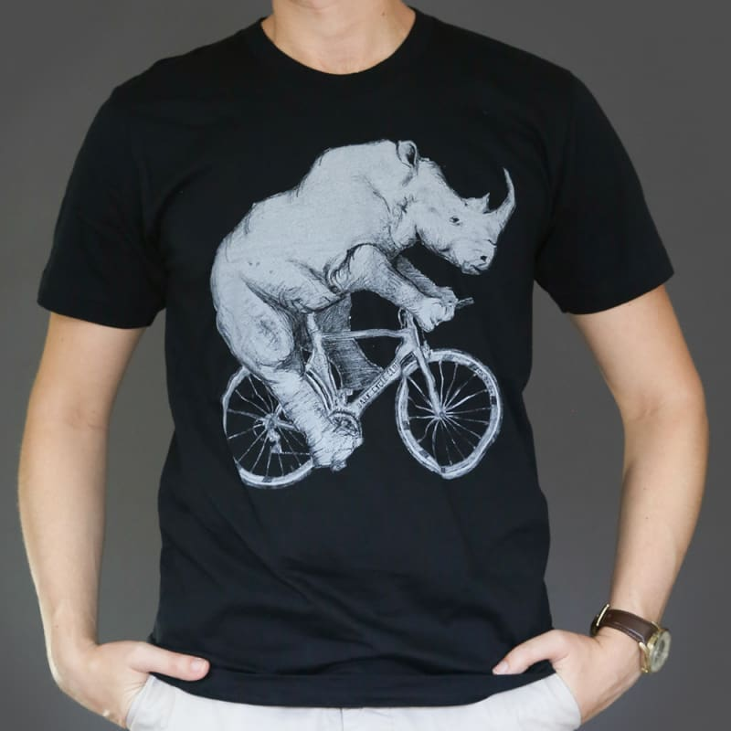 Rhino on a Bicycle Mens T-Shirt - Unisex/Mens Tee / Black / XS - Unisex Tees