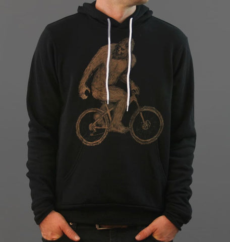Sasquatch on a Mountain Bike Unisex Hoodie