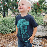 Sea Turtle on a Bicycle Kids T-Shirt - Tri Black / 2T (S) - Kids Shirts