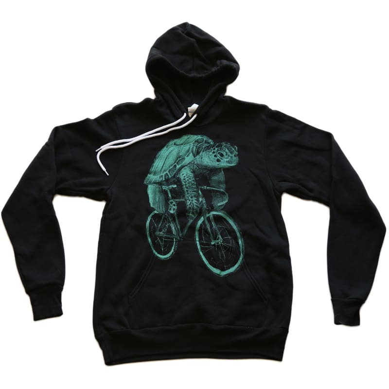 Sea Turtle on a Bicycle Unisex Hoodie - unisex hoodie