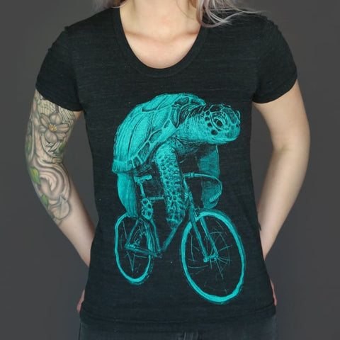 Sea Turtle on a Bicycle Women's T-Shirt
