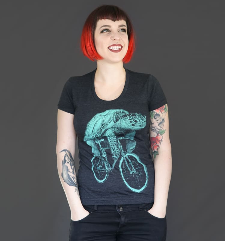 Sea Turtle on a Bicycle Womens T-Shirt - Tri Black / S - Ladies Tees