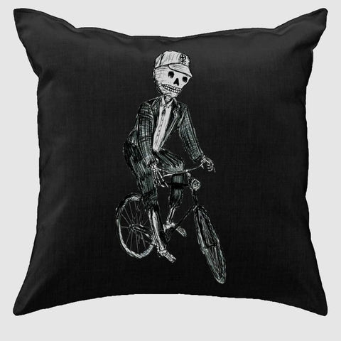 Skeleton on a Bicycle Pillow