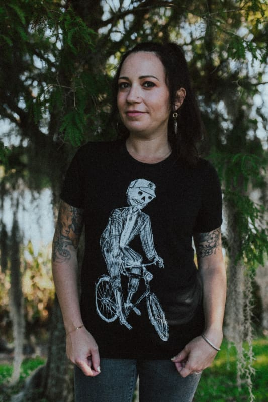 Skeleton on a Bicycle Womens T-Shirt - Relaxed Fit / S / Solid Black Tri-Blend