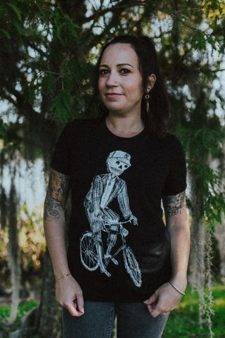 Skeleton on a Bicycle Women's T-Shirt