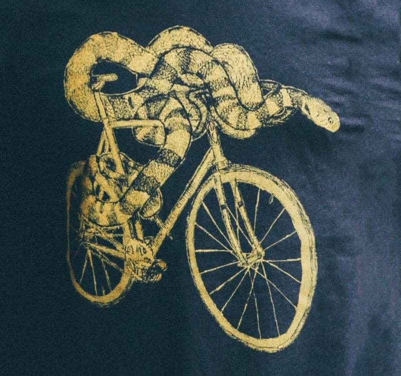 Snake on a Bicycle Womens T-Shirt