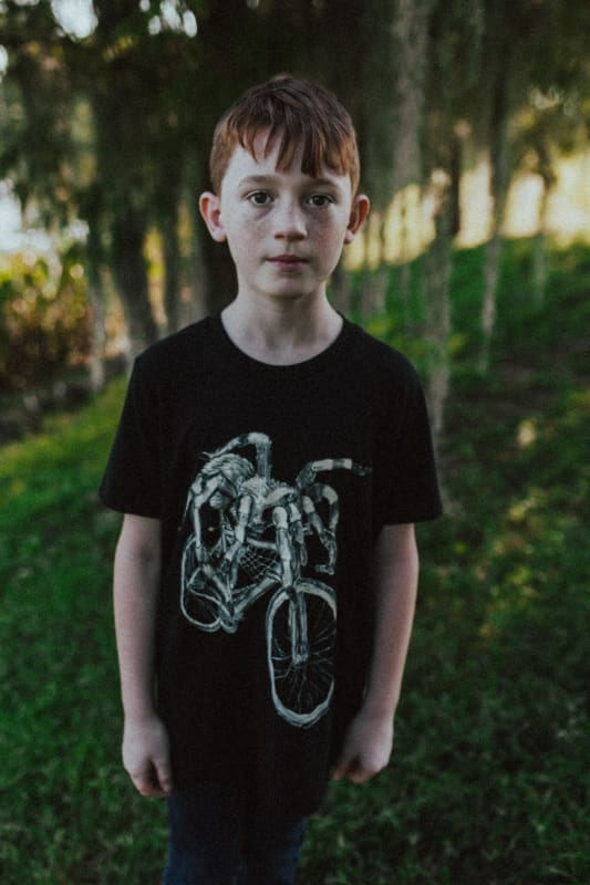 Spider on a Bicycle Kids T-Shirt - 2 / Solid Black Tri-Blend - Kids Shirts