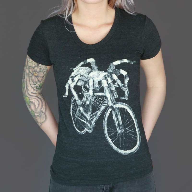 Spider on a Bicycle Womens T-Shirt - Regular Fit / Solid Black Triblend / S - Ladies Tees