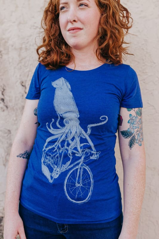 Squid Riding a Bicycle Womens T-Shirt - S / Tri-Indigo - Ladies Tees