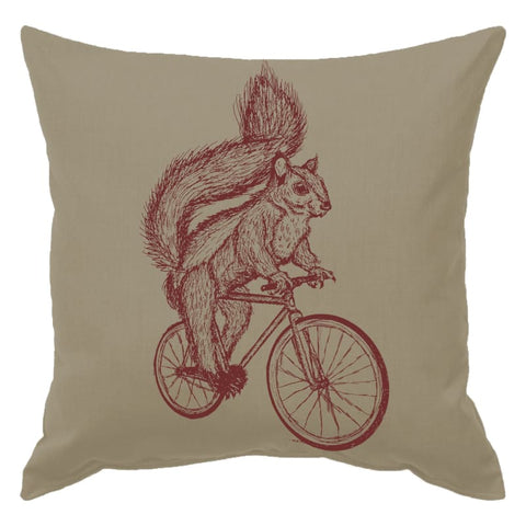 Squirrel on a Bicycle pillow
