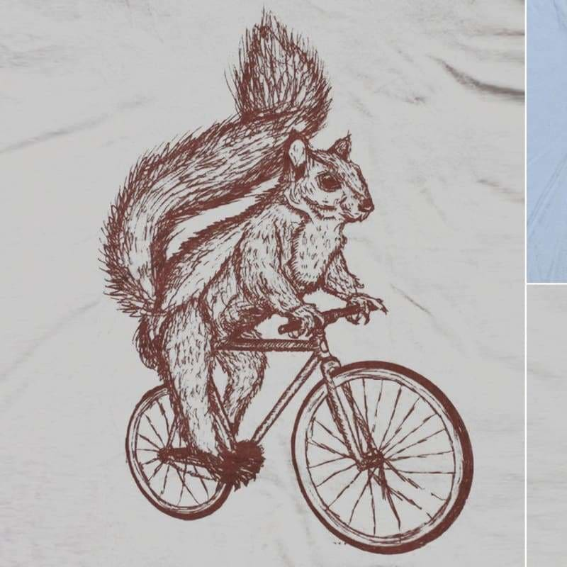 Squirrel on a Bicycle Womens T-Shirt - Ladies Tee / Cream / S