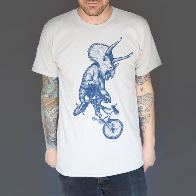 Triceratops on a Bike Mens T-Shirt - Unisex Tees