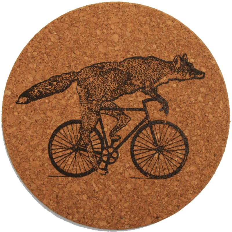 Trivet - Fox on a Bike - Cork Trivet - Trivets