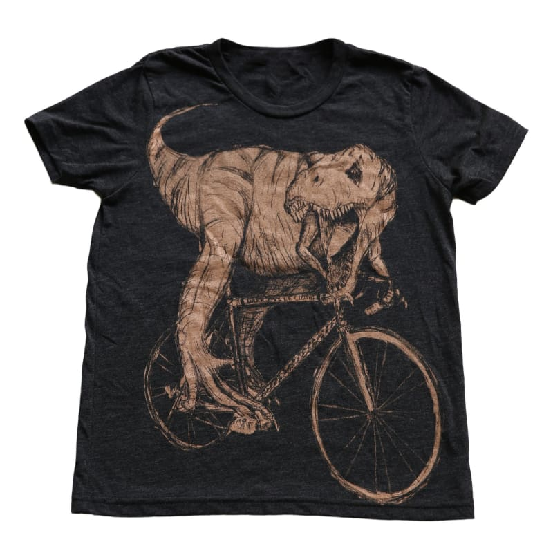 Tyrannosaurus Rex on a Bicycle Kids T-Shirt - 8 - Kids Shirts