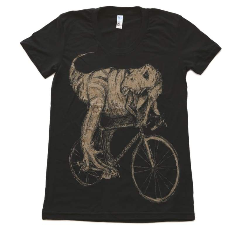 Tyrannosaurus Rex on a Bicycle Womens T-Shirt - Ladies Tee / S - Ladies Tees